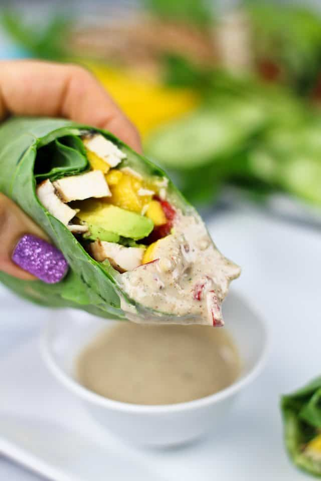 Collard Wraps and Satay Dipping Sauce | by Sonia! The Healthy Foodie