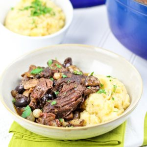 Tomato Olive Braised Beef with Rustic Cauliflower Turnip Mash
