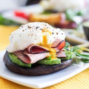Poached Egg and Smoked Ham over Portobello Mushroom Caps