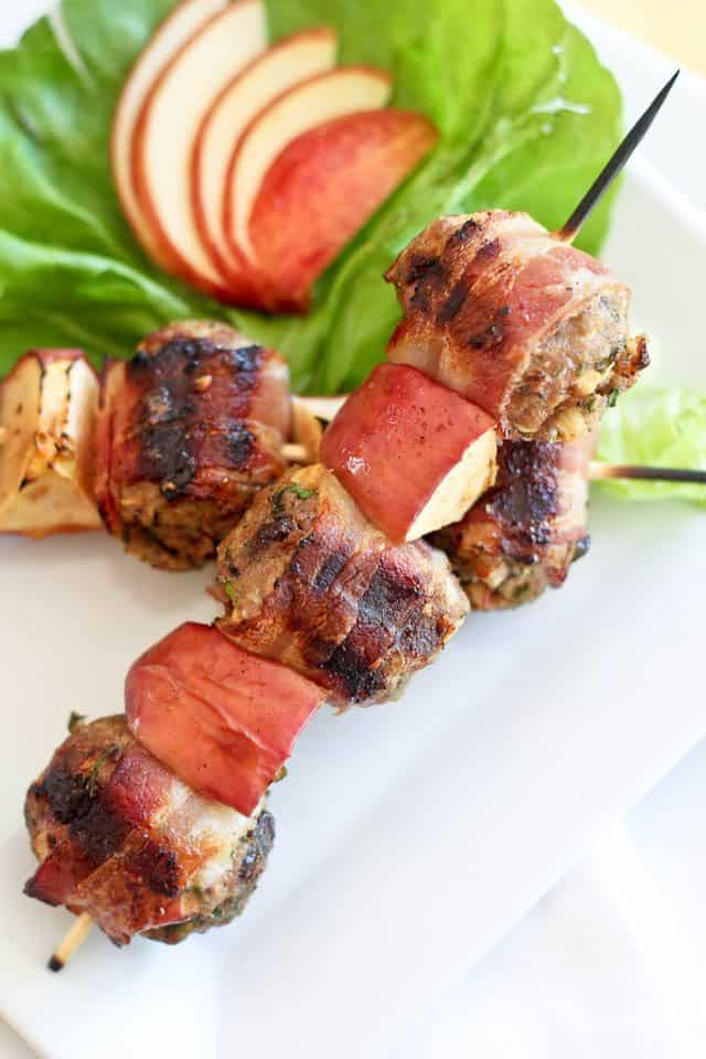 Bacon Wrapped Meatball Kebabs | by Sonia! The Healthy Foodie