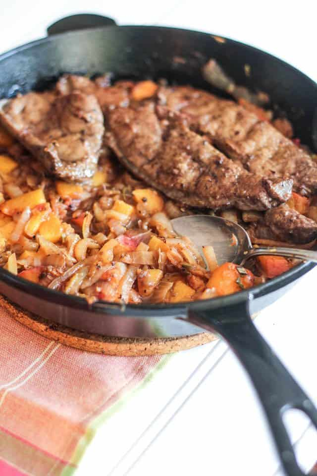 Beef Liver with Peaches and Caramelized Onions | by Sonia! The Healthy Foodie