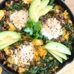 A warm and comforting mixture of ground beef, butternut squash, spinach, eggs and avocado. A surefire way to start, or end, your day right!