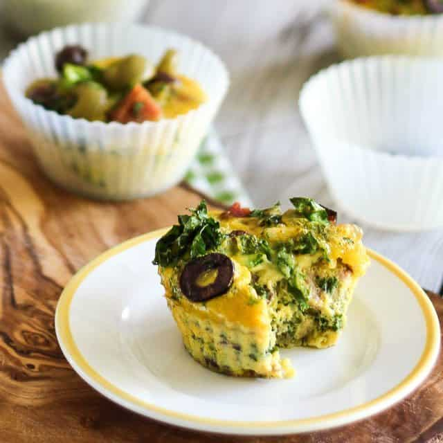 Ham Kale and Olive Frittata Cups | thehealthyfoodie.com