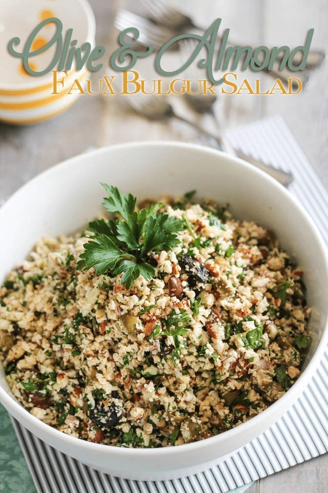 Almond and Olive Faux Bulgur Salad | by Sonia! The Healthy Foodie