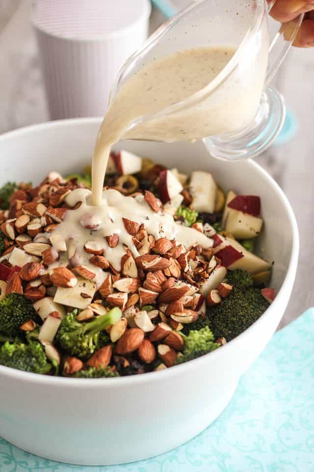Broccoli Apple and Almond Salad | thehealthyfoodie.com