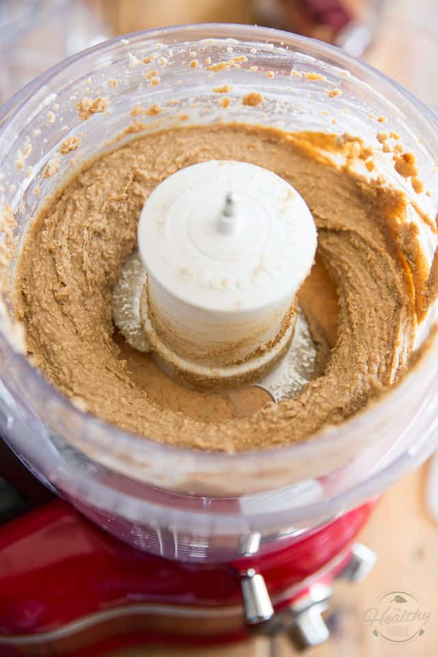 Cashews, chesnuts, date paste and shredded coconut have been processed to a creamy paste consistency