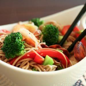 Sesame Tofu and Shrimp Soba Noodles