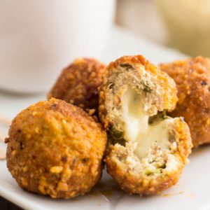 Game Day Bites – Mozzarella Stuffed Buffalo Chicken Meatballs