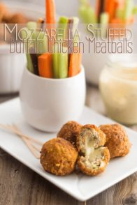 A gooey cheesy center in a tender meaty shell smothered in a picante Buffalo Sauce, these Mozzarella Stuffed Buffalo Chicken Meatballs are the ultimate Game Day Bites.