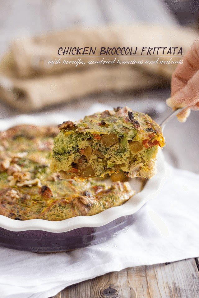 Chicken Broccoli Frittata |by Sonia! The Healthy Foodie