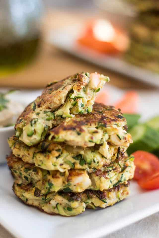 Paleo Zucchini & Shrimp Fritters | www.thehealthyfoodie.com