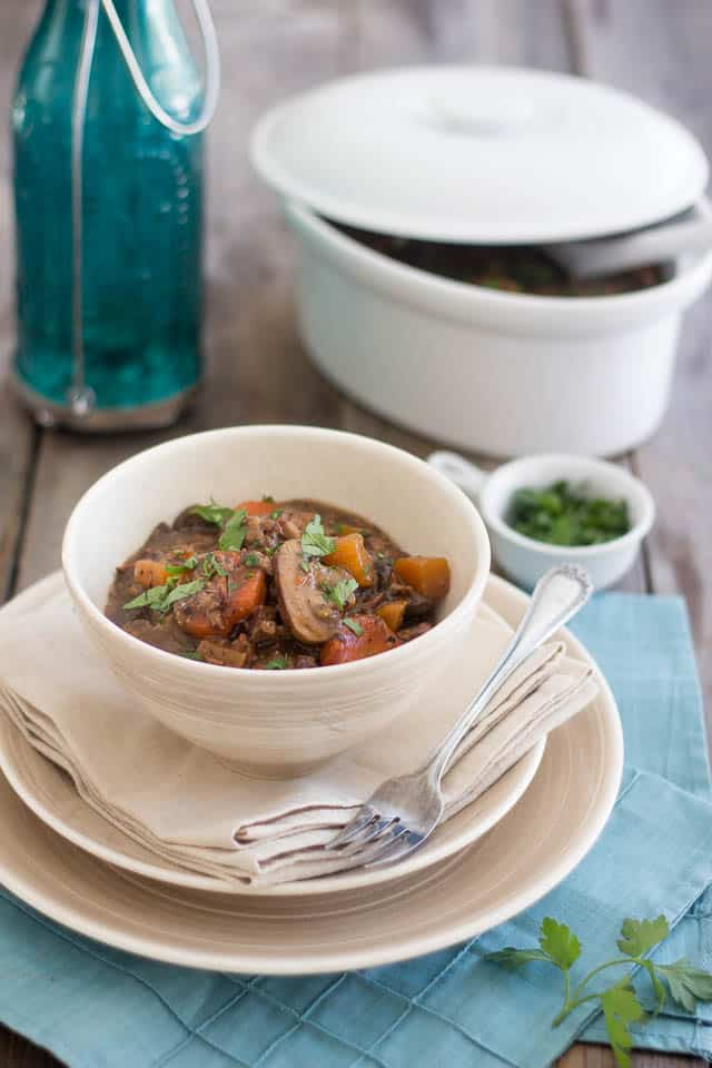 Squeaky Clean Slow Cooker Beef Bourguignon | thehealthyfoodie.com