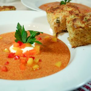 Red Bell Pepper Soup and Cheesy Jalapeno Cornbread