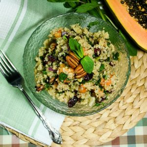 Warm (or cold) Quinoa Papaya Salad