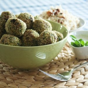 Tofu Balls and Mint Yogurt Sauce