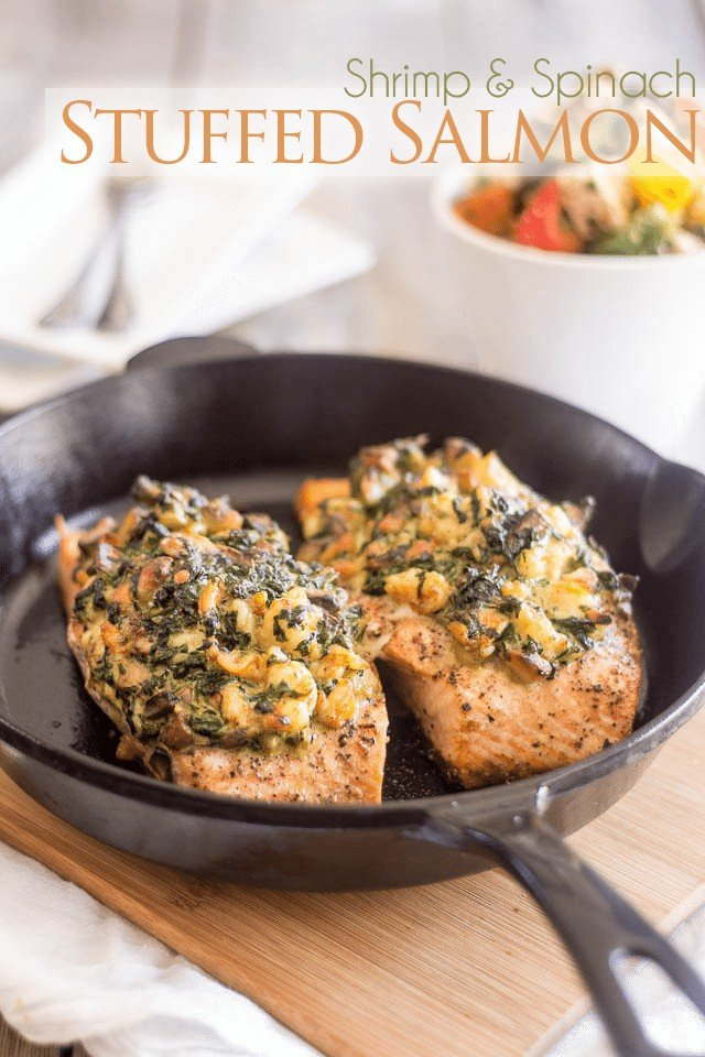 Shrimp and Spinach Stuffed Salmon | thehealthyfoodie.com