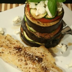 Haddock Filet and Ratatouille Vertical Style
