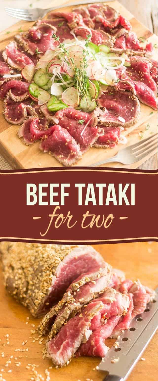 As pleasing to the eye as it is to the palate, this easy and elegant Beef Tataki for 2 is the perfect prelude to a beautiful evening with that special someone, especially if they happen to be a true meat lover!