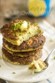 Creamy Cauliflower Fritters | thehealthyfoodie.com