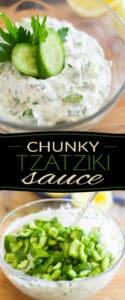 This quick and easy Chunky Tzatziki Sauce is the mandatory complement to any good souvlaki, but really it tastes so good, you'll want to eat it by the spoonful!