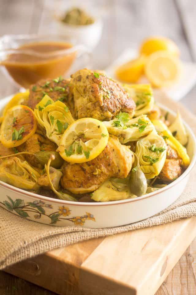 Lemon Artichoke Slow Cooker Chicken