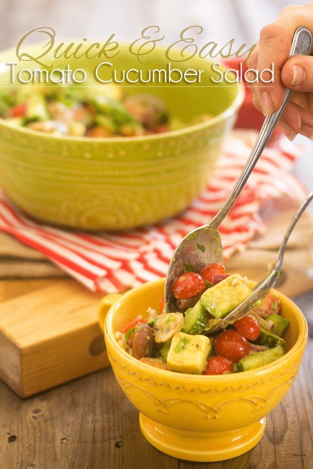 Quick and Easy Tomato Cucumber Salad | thehealthyfoodie.com