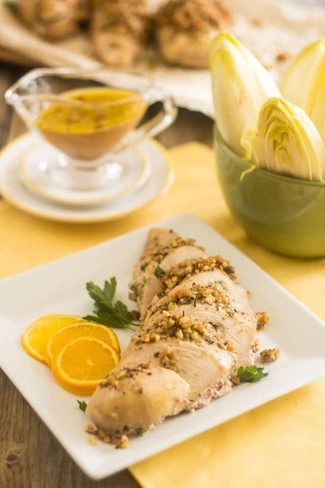 Blue Cheese Stuffed Walnut Crusted Chicken Breasts   thehealthyfoodie.com