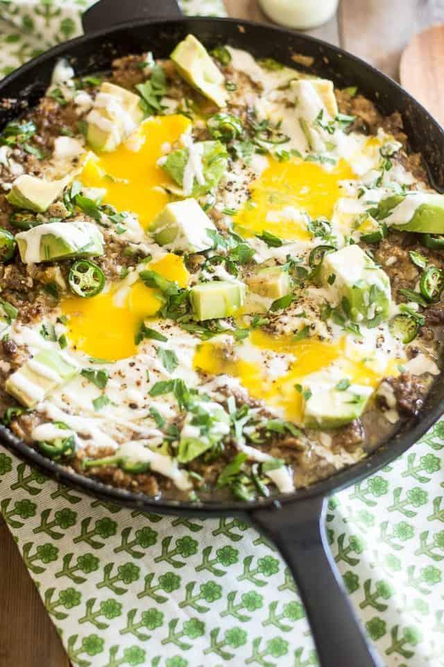 Creamy Ground Beef and Cauliflower Skillet | thehealthyfoodie.com