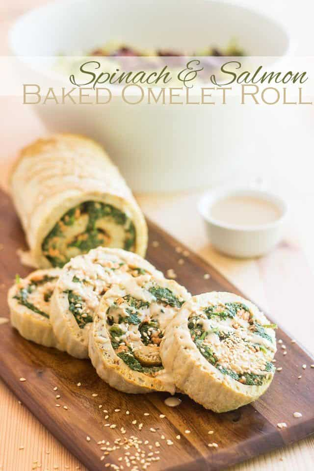 Spinach and Salmon Baked Omelet Roll | thehealthyfoodie.com