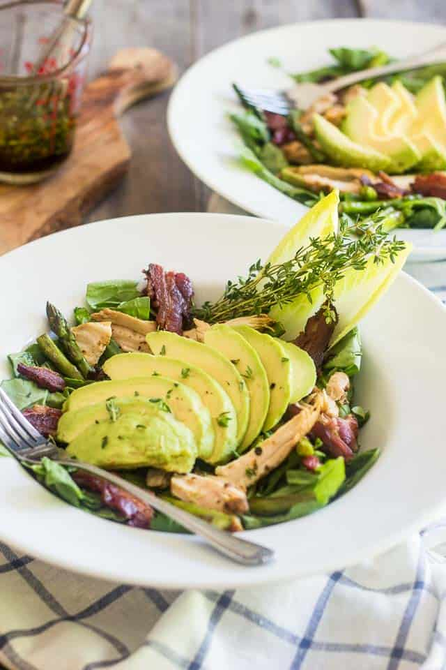 Chicken Bacon and Roasted Asparagus Salad | thehealthyfoodie.com