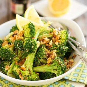 Ginger Sesame Almond Broccoli | thehealthyfoodie.com