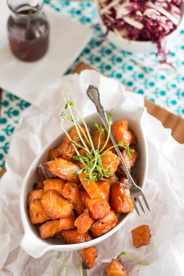 Heat Smoked Maple Salmon Nuggets| thehealthyfoodie.com