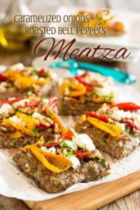 Onion Goat Cheese Bell Pepper Meatzza | thehealthyfoodie.com