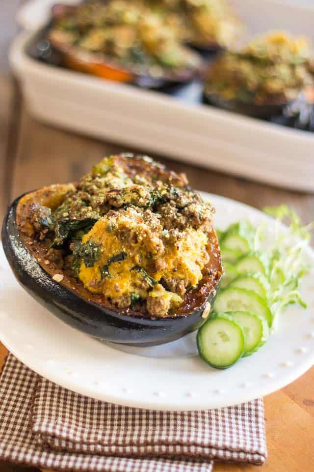 Ground Beef Stuffed Acorn Squash | thehealthyfoodie.com