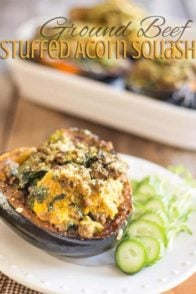 Ground Beef Stuffed Acorn Squash | thehealthyfoodie.com