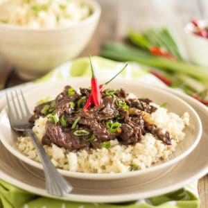 Mongolian Beef over Cauliflower Rice – A Recipe Right Out of The Paleo Kitchen