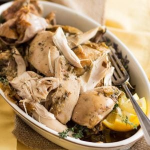 Slow Cooker Lemon Thyme Chicken | thehealthyfoodie.com