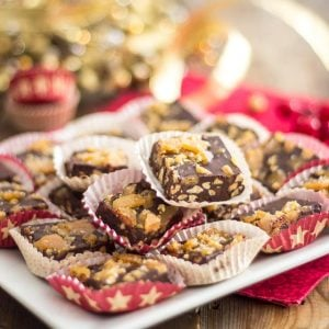 Salted Caramel Roasted Cashews Chocolate Squares