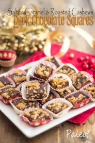 Salted Caramel Roasted Cashew Dark Chocolate Squares | thehealthyfoodie.com