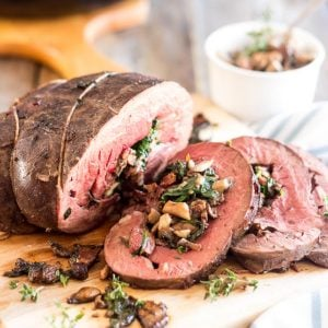 Mushroom and Spinach Stuffed Beef Heart