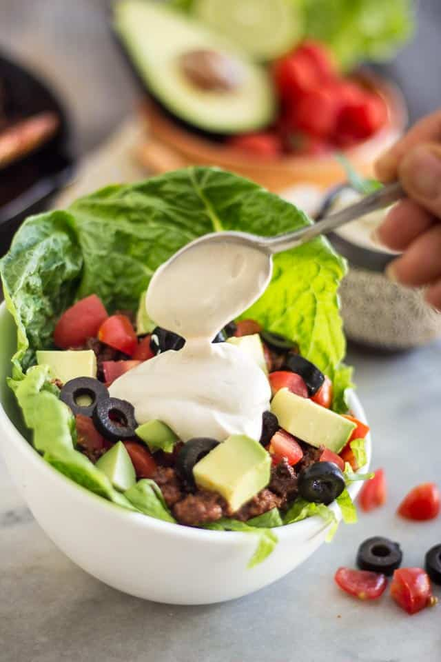 Warm Taco Style Salad | thehealthyfoodie.com