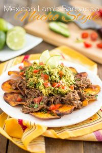 Sweet Potatoes slices pan-fried to crispy perfection topped with juicy, spicy Pulled Lamb and a Quick Guacamole: you will love these Lamb Barbacoa Nachos