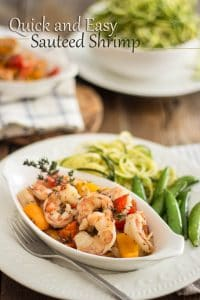10 minutes and 5 ingredients is all it takes to make this delicious and squeaky clean Quick and Easy Sauteed Shrimp recipe.