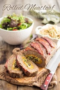 Rolled Meatloaf stuffed with Sweet Potato Puree, Brussels Sprouts and Sauteed Mushrooms. A spectacular recipe you'll want as part of your regular rotation!