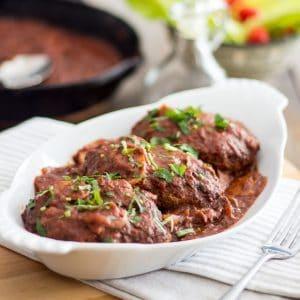 Salisbury Steak Kicked-Up a Notch | thehealthyfoodie.com