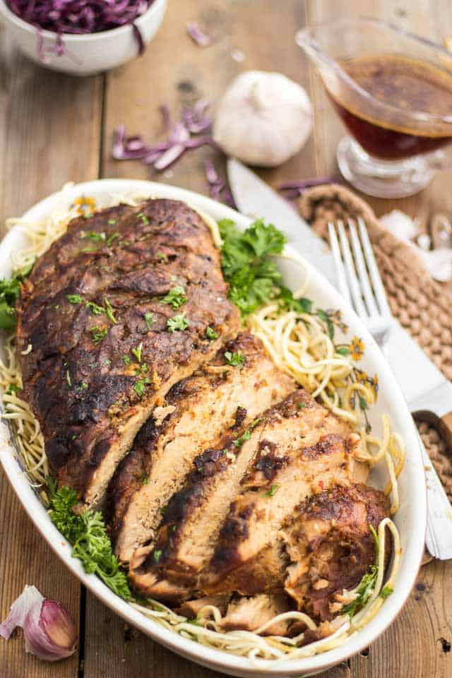Ginger Garlic Slow Cooker Pork Loin | thehealthyfoodie.com