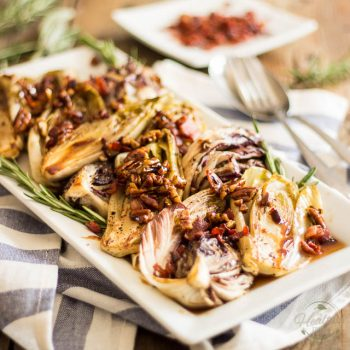 Pan Seared Belgian Endives and Radicchio with Maple Pecan and Bacon Crumble