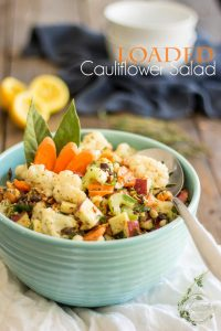 The ideal contender for your next Potluck Dinner Party, this super nutritious Loaded Cauliflower Salad is so good it should almost be called dessert!