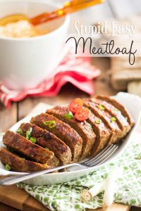 Naturally Grain and Gluten Free, this Stupid Easy Meatloaf recipe uses cauliflower instead of breadcrumbs to keep the loaf nice and moist.