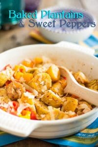 This very tropical Baked Plantains and Sweet Peppers dish will instantly transport you to a land of sandy beaches and turquoise oceans.